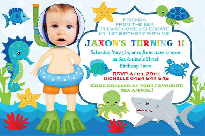 personalised kids boys photo under the sea birthday party invitations invites - Under The Sea Party Invitations