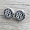Glass dome stud earrings - black and white