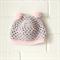 pom pom beanie | crochet | baby girl | grey pink