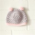 pom pom beanie | crochet | baby girl | grey pink | 6-12 months