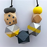 Wooden Geometric & Polymer Clay Necklace
