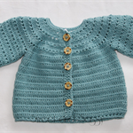 Crocheted Sophie's Cardigan. Size 6-12 months