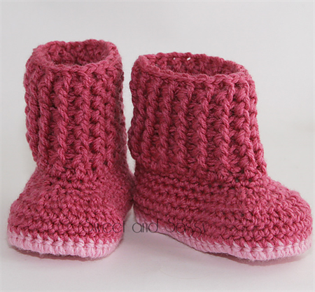 Crocheted Snuggly Snuggs Booties. Size 0-3 months - 6-12 months