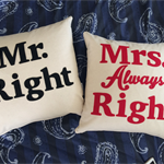 Decorative cushion, organic fabric word on a cushion Mr Right Mrs always Right