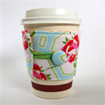Coffee Cup Cuff - Roses on baby blue
