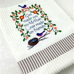 Hand Towel or Tea Towel with Embroidered Verse, Gift for Mum, Mother