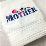 Gift for Mum, Machine Embroidered White Hand Towel with word Mother