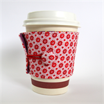 Coffee Cup Cuff - Tiny Red Flowers on White