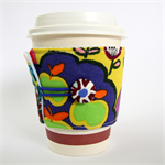 Coffee Cup Cuff - Green Apples & a crazy Rainbow