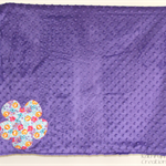 Purple Minky and Cotton Blanket/Wrap