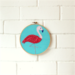 flamingo | hoop art | baby nursery bedroom decor gift | pink & aqua