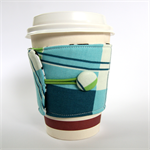 Coffee Cup Cuff - Blue, Green & White Tartan