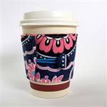 Coffee Cup Cuff - Big Pink Blooms on Indigo Blue