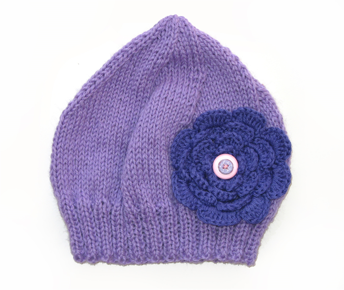 Girls Retro Lilac Knitted Wool Beanie Hat - Purple Flower   Buttons SIZE 2  3 4 5  7b25cbac043