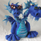 Two Headed Dark shadow Dragon, needle felted large wool sculpture poseable doll