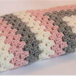 Crocheted Baby Blanket - Pink Grey Cream - Baby Girl Gift - Made-to-order
