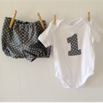 1st Birthday Set - Grey with Aqua Spots Shorties with matching no 1 onesie