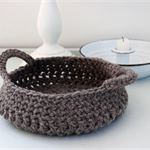 Woollen Crochet Basket medium with handles made from soft felted NZ Merino wool