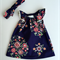 Navy Floral Flutter Girl Dress and Knotted Headband