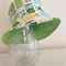 Boys summer hat in bright owl fabric-green reverse