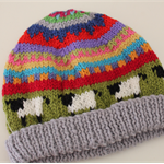 Grey 'sheep'  Beanie - to fit approx up to 12 months - hand knitted