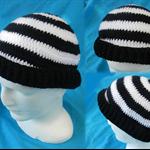 Crocheted Black and White Beanie