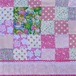 "Pink ""rabbit"" cot quilt or floor rug, with Pricilla Pink-Toes the giraffe"