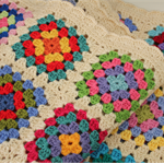 Cream Crocheted Granny Square baby blanket  - Pure wool