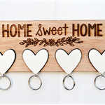 Wooden Laser Engraved Key Holder, Home Sweet Home, 223 mm by 86 mm