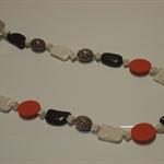 Orange, Brown & Beige beaded necklace