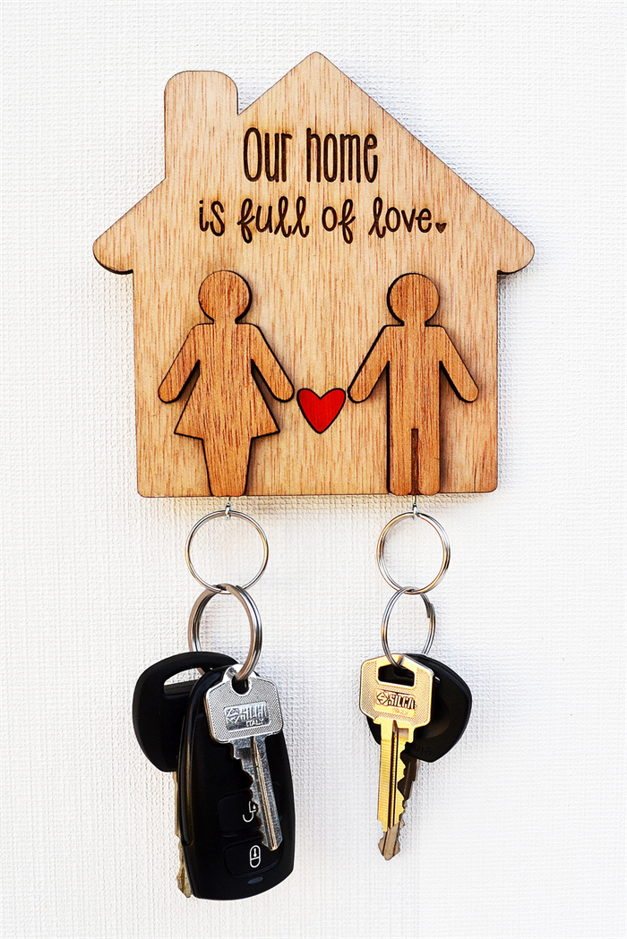 Wooden Key Holder people key chains laser