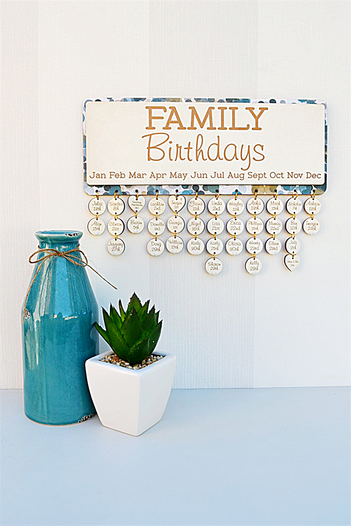 Custom Family Birthdays Calendar Wintertime Theme Birthday Gift