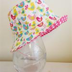 Baby girl 3-6 month old summer hat in sweet birdie fabric