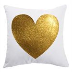 Heart of Gold pillow cover, cushion case, decorative Glitter Design