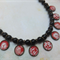 Obsidian with Black, Red & White Glass Necklace