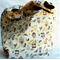 Market bag in creams, yellows,browns and red.  Reversible and reusable