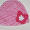 Crocheted baby girl hat, beanie - pink with butterfly