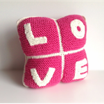 Decorative Cushion | Love | Girls Bedroom | Hand Knitted & Hand Crocheted