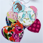 Pink Hearts Garland, Mothers Day, Bridal Shower, double-sided fabric