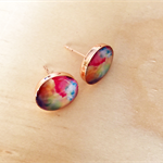 Water Colour Copper Resin Stud Earrings