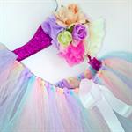 Pastel Rainbow tutu size 3-5 fluffy deluxe knee length tutu with ribbon sash tie