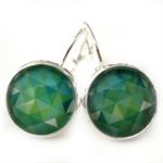 LEVER BACK EARRINGS- Green geo pattern