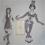 Wall Decal Doll Set SteamPunk Paper Doll Inspired Ink Drawn Victorian