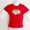 Vintage Print Boys Red and White T Shirt