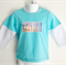 Surfboards and Sand Boys Aqua and White T Shirt