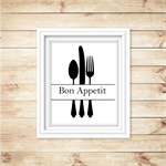 Bon Appetit Kitchen Wall Art - PRINTABLE - Kitchen Wall Decor