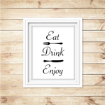 Eat Drink Enjoy Kitchen Wall Art Decor
