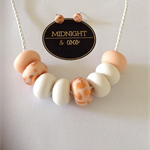 White & Copper Leaf Polymer Clay Necklace & Earrings