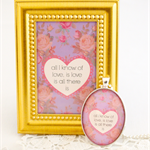 Love Quote necklace and mini framed print set