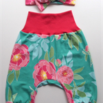 Floral Baby Harem Pants And Matching Head Band Set